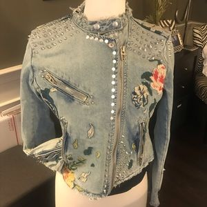 Blank NYC embroidered studded denim jacket xs